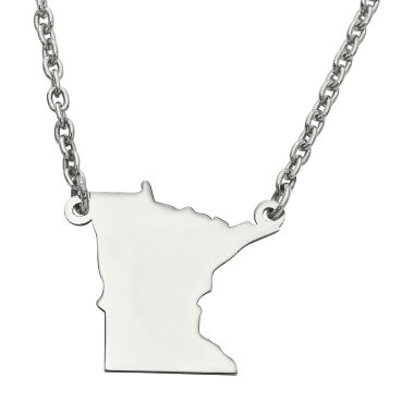 jcpenney.com | Personalized Sterling Silver Minnesota Pendant Necklace