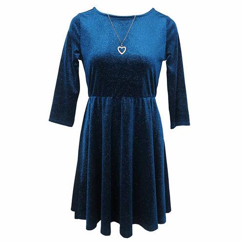 Lilt 3/4 Sleeve Skater Dress Plus - Girls7-16 and Plus