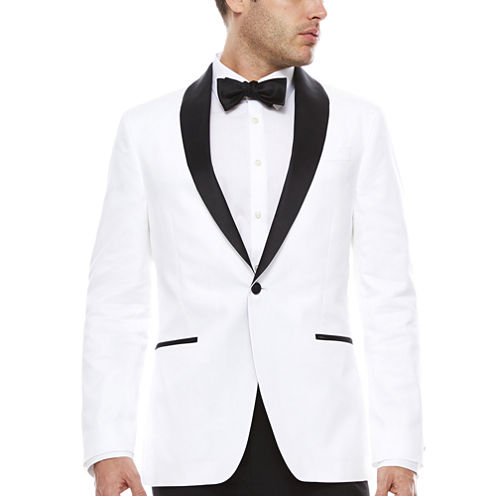 JF J. Ferrar Stretch White Tuxedo Jacket- Slim Fit