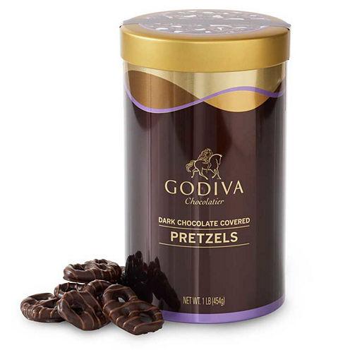 Godiva Dark Chocolate-Covered Pretzels Tin