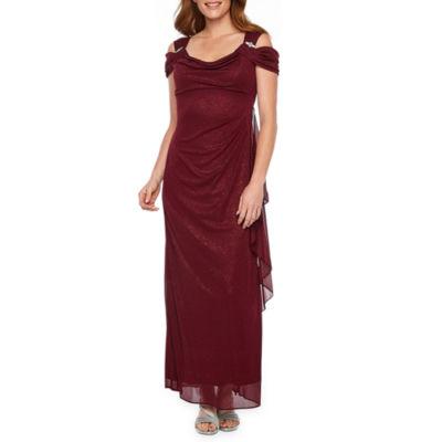 R M Richards Short Sleeve Cold Shoulder Embellished Evening Gown
