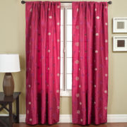 Colton Faux-Silk Rod-Pocket Polka Dot Curtain Panel