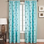 Colton Faux-Silk Rod-Pocket Polka Dot Curtain Panel