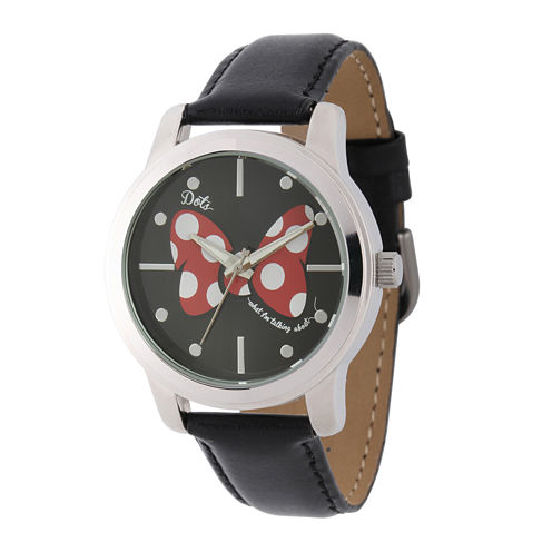 Disney Collection Womens Black Bow Black Leather Strap Watch
