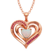 Classic Treasures™ 18K Rose Gold Over Brass Lab-Created Opal Heart Pendant