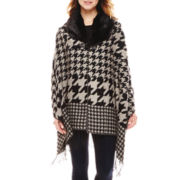Manhattan Hat Company® Houndstooth Wrap with Faux-Fur Collar