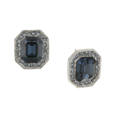 jcpenney.com | 1928® Blue Crystal Silver-Tone Button Earrings