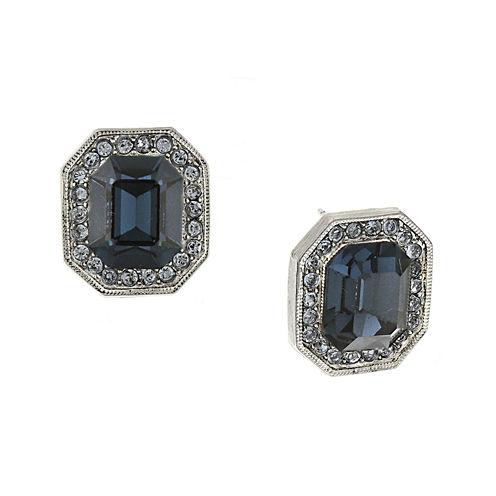 1928® Blue Crystal Silver-Tone Button Earrings