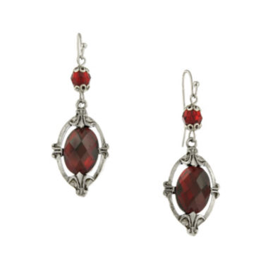 jcpenney.com | 1928® Red Faceted Stone Silver-Tone Drop Earrings