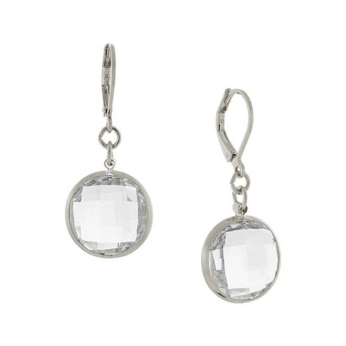 1928® Silver-Tone Crystal Drop Earrings