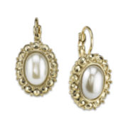 1928® Gold-Tone Simulated Pearl Earrings