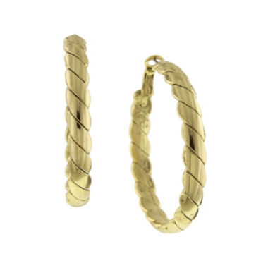 "jcpenney.com | 1928® Gold-Tone Textured 2"" Hoop Earrings"