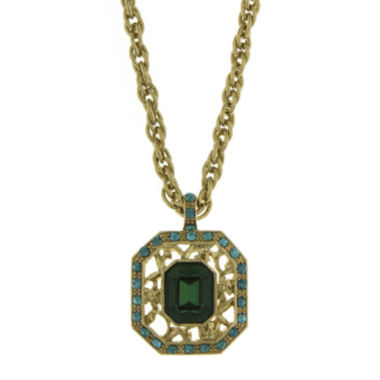 jcpenney.com | 1928® Green and Blue Stone Gold-Tone Pendant Necklace