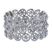 1928® Silver-Tone and Blue Wide Stretch Bracelet