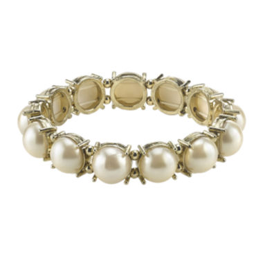 jcpenney.com | 1928® Simulated Pearl Gold-Tone Stretch Bracelet