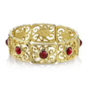 1928® Red Stone Gold-Tone Filigree Stretch Bracelet