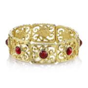 1928® Red Stone Gold-Tone Filigree Stretch Bracelet