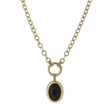 jcpenney.com | 1928® Black Stone Gold-Tone Pendant Necklace