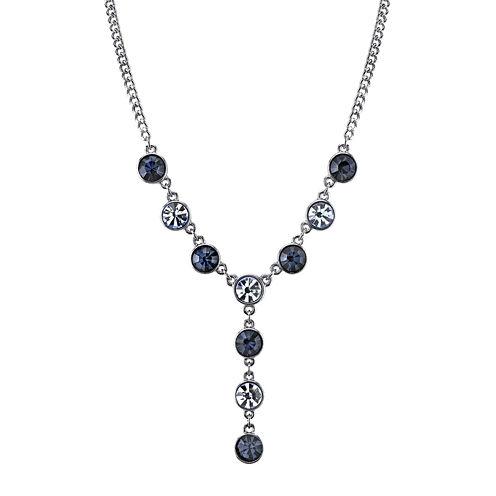 1928® Light and Dark Blue Crystal Silver-Tone Y-Necklace