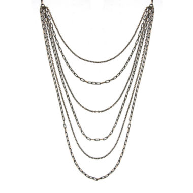 jcpenney.com | 1928® 6-Row Black and Gold-Tone Layered Chain Necklace