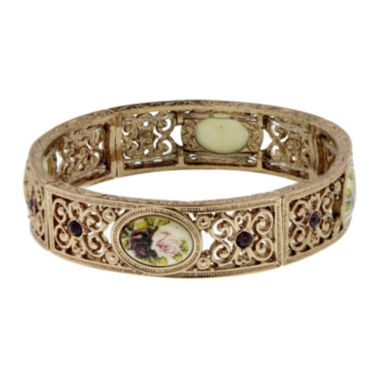 jcpenney.com | 1928® Rose Gold-Tone Flower Stretch Bracelet