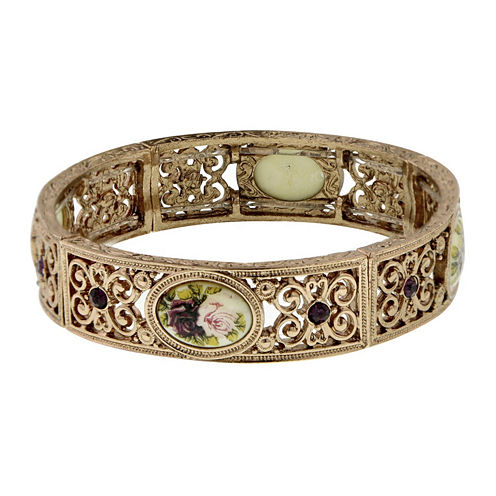 1928® Rose Gold-Tone Flower Stretch Bracelet