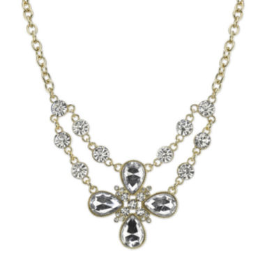 jcpenney.com | 1928® Crystal Gold-Tone Flower Necklace