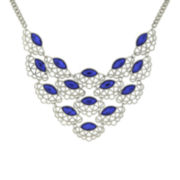1928® Blue Stone Silver-Tone Filigree Bib Necklace