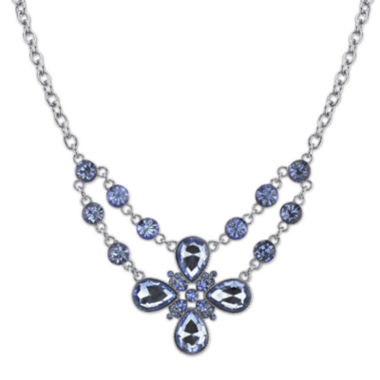 jcpenney.com | 1928® Light Blue Stone Silver-Tone Flower Necklace