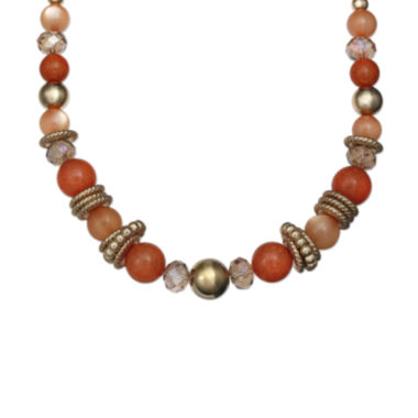 jcpenney.com | Mixit™ Orange and Gold-Tone Bead Necklace