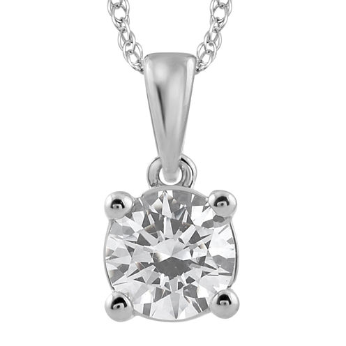 3/4 CT. Diamond Solitaire 14K White Gold Pendant Necklace