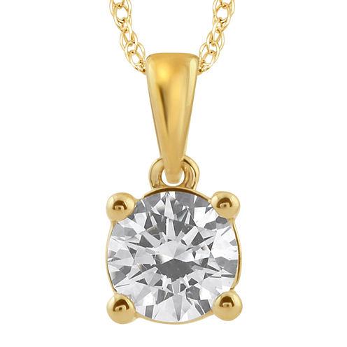 3/4 CT. Diamond Solitaire 14K Yellow Gold Pendant Necklace