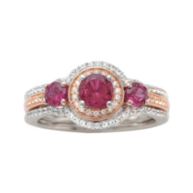 jcpenney.com | Genuine Rhodolite and 1/3 CT. T.W. Diamond 10K Rose Gold Ring
