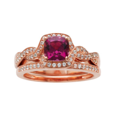 jcpenney.com | Genuine Rhodolite and 1/3 CT. T.W. Diamond 10K Rose Gold Ring Set