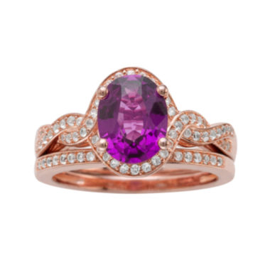 jcpenney.com | Genuine Amethyst and 1/3 CT. T.W. Diamond 10K Rose Gold Ring Set