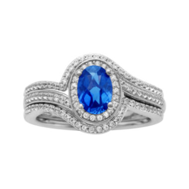 jcpenney.com | Sterling Silver Sapphire and Diamond Ring