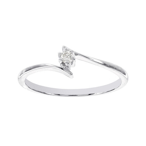 Lumastar Diamond-Accent 14K White Gold Solitaire Promise Ring