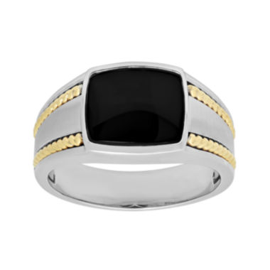 jcpenney.com | Mens Genuine Onyx 10K Two-Tone Gold Ring