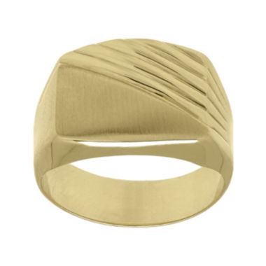 jcpenney.com | Mens 10K Yellow Gold Textured and Smooth Ring