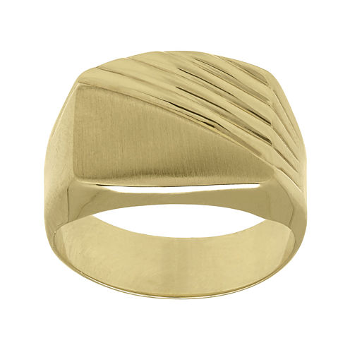Mens 10K Yellow Gold Textured and Smooth Ring