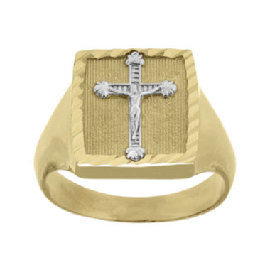 jcpenney.com | Mens 14K Two-Tone Gold Crucifix Ring