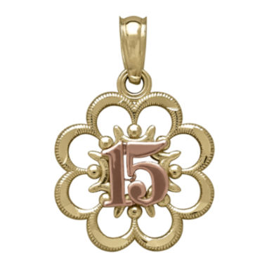 jcpenney.com | Tesoro™ 14K Two-Tone Gold 15 Quiceanera Flower Pendant