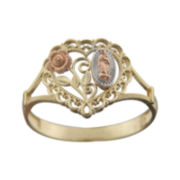 Rene Bargueiras® 14K Tri-Color Gold Our Lady of Guadalupe Rose Heart Ring