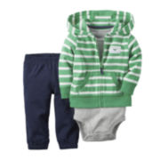 Carter's® 3-Piece Green Striped Hoodie Set – Baby Boys newborn-24m