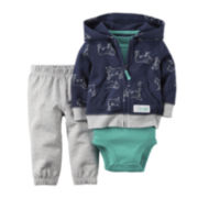 Carter's® 3-Piece Dog Print Hoodie Set - Baby Boys newborn-24m