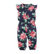 Carter's® Navy Floral Jumpsuit – Baby Girls Newborn-24m