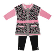 Little Lass Sweater, Top and Leggings - Toddler Girls 2t-4t