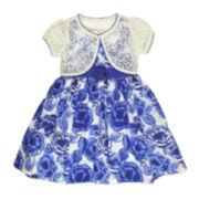 Nanette Sundress with Crochet-Lace Shrug- Toddler Girls 2t-4t