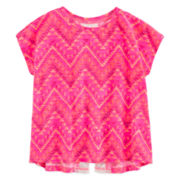 Arizona Short-Sleeve Lace Split-Back Top - Preschool Girls 4-6x