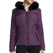 Celebrity Pink Faux-Fur Hooded Puffer Jacket